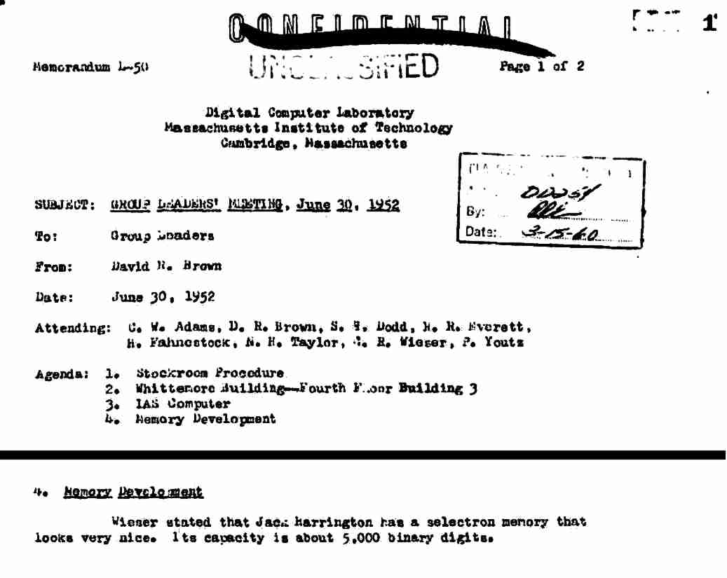 1952 Project Whirlwind memo
